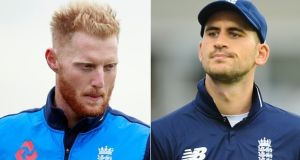 Ben Stokes, left, and Alex Hales have been suspended by the England Cricket Board. Photo: Reuters