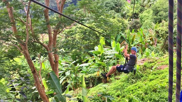 Mark ziplining at Eagle Trek