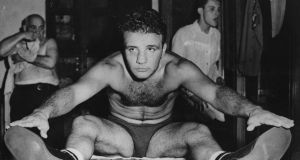 Jake La Motta  during a training session at Gleason's Gym, New York in 1949. Photograph: Keystone/Getty Images
