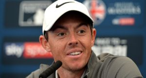 Rory McIlroy of Northern Ireland speaks to the media at a press conference during the British Masters at Close House Golf Club in Newcastle upon Tyne, England. Photo: Mark Runnacles/Getty Images