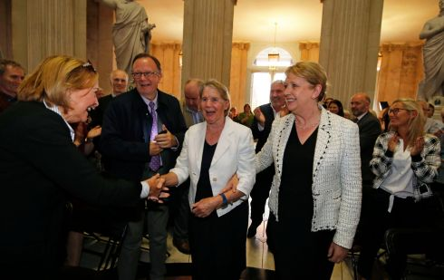 STAN'S SURPRISE: A surprise event honouring Sr Stanislaus Kennedy is held in City Hall, Dublin city centre. Pictured is Sr Stan (centre) with former president of Ireland Mary McAleese (right). Photograph: Nick Bradshaw