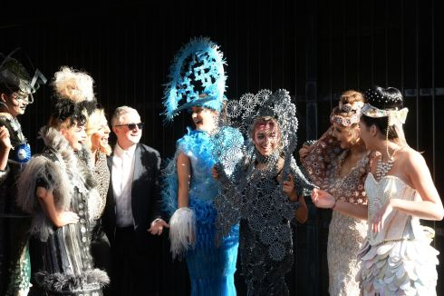 JUNK KOUTURE: Judges Pippa O'Conner and Louis Walsh with models and designers (left to right)  Mariusz Malon, Emily McCabe, Lauren Curran, Shauna Mannion, Tina Geoghegan and Emma Duffy wearing designs made of recycled materials at a call for entries for the Bank of Ireland Junk Kouture Young Designers 2018 awards   the all-Ireland secondary school fashion design competition.   Photograph: Alan Betson/The Irish Times