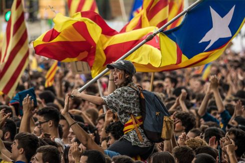 CATALONIA CONTROVERSY: University students demonstrate in Barcelona against the Spanish government's ban on an independence referendum in Catalonia. The Catalan government still plans to hold the public vote on Octorber 1st. Photograph: Dan Kitwood/Getty Images