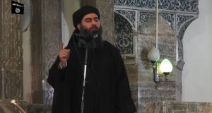 Leader of the Islamic State Abu Bakr al-Baghdadi: thought to be hiding in sparsely populated desert between Mosul and Raqqa. Photograph: AFP