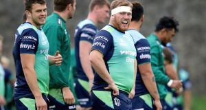 Connacht players during training ahead of their clash with Scarlets. Photograph: Laszlo Geczo/Inpho