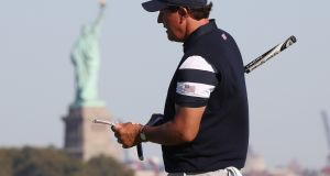 US team golfer Phil Mickelson on the tenth hole during Foursomes play at the 2017 Presidents Cup in Jersey City. Photograph: PA