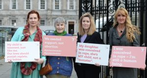 Anti-abortion protesters Jennifer Christie, Laura Ní Chonghaile, Shauna Prewitt, and Rebecca Kiessling outside Leinster House this week. Photograph: Alan Betson/The Irish Times