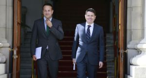 Taoiseach Leo Varadkar with Paschal Donohoe: the Minister for Finance's  polite yet firm nature will be tested to its limits this week, when the real talking begins. Photograph: Nick Bradshaw