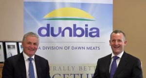 Dunbia chief executive Jim Dobson (left) and Dawn boss Niall Browne will run new UK venture from Dunbia's Dungannon headquarters.