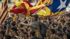 Students demonstrate in Barcelona against the position of the Spanish government to ban the self-determination referendum of Catalonia. Photograph: Dan Kitwood/Getty Images