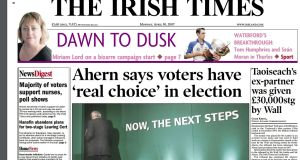 Front page of The Irish Times on Monday, April 30th, 2007, the day after Bertie Ahern asked president Mary McAleese to dissolve the Dáil and call an election for Thursday, May 24th.
