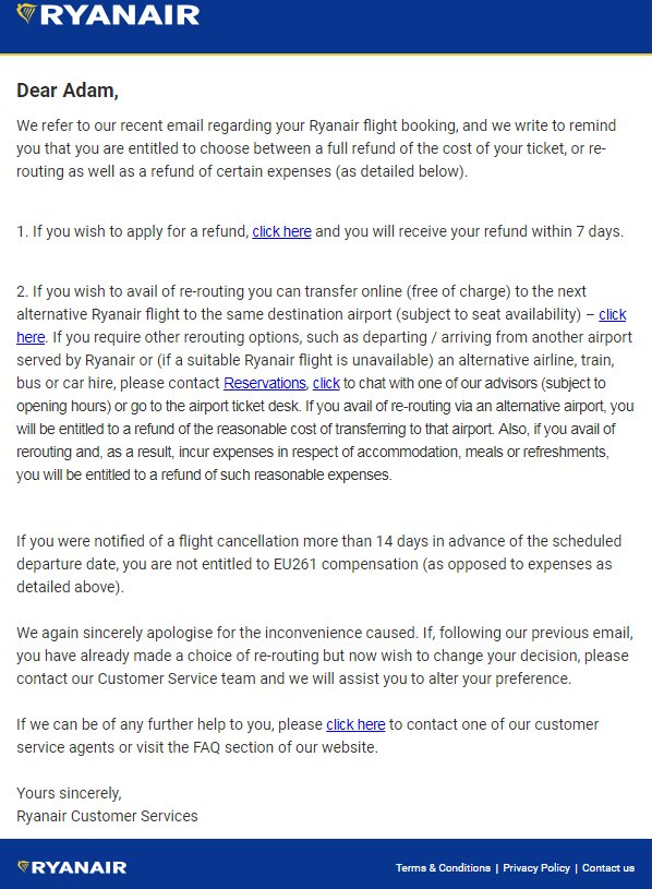 Ryanair sends out updated compensation information to passengers a copy of the sample letter ryanair is sending to affected customers thecheapjerseys Choice Image