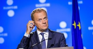 European Council president Donald Tusk gives a press conference after the European Union digital summit in Tallinn, Estonia. Photograph: Ilmars Znotins/AFP/Getty Images