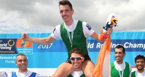 Ireland's Mark O'Donovan and Shane O'Driscoll celebrate winning gold at the World Rowing Championships in Sarasota, Florida. Photo: Detlev Seyb/Inpho