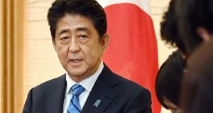 Japanese prime minister Shinzo Abe: dissolved the lower house of parliament on Thursday, setting the stage for an October 22nd election. Photograph: Kyodo News via AP