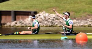 Ireland's Mark O'Donovan and Shane O'Driscoll celebrate winning gold at the 2017 World Rowing Championships in Sarasota, Florida. Photo: Detlev Seyb/Inpho