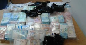 An image of the  €400,000 in cash seized in Ballymun.
