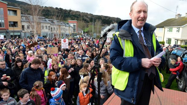 Shane Ross at a protest rally in 2013 in Stepaside, Co Dublin, over the closure of the local Garda station. File photograph: Eric Luke/The Irish Times