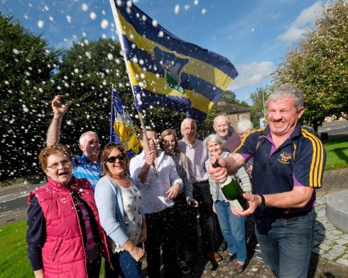 TIDY TOWN: Dinny Ryan of the Coopers pub celebrates with Mary, Anthony and Nora Floyd; Eoghan Toner of Matt the Thresher pub; Katie Ryan, Joe Floyd, Michael Kelly, Teresa Topsill and Geraldine Bourke after Birdhill, in Co Tipperary, was named Ireland's tidiest town. Photograph: Don Moloney
