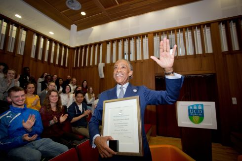 PRIZE WINNER: the Rev Al Sharpton after receiving the James Joyce Award and honorary fellowship of the Literary and Historical Society at University College Dublin. Photograph: Tom Honan
