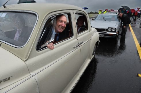 VINTAGE TURNOUT: Minister for Transport Shane Ross in a 1959 Rover 100 at the opening of the M18/M17 Gort to Tuam motorway. Photograph: Ray Ryan