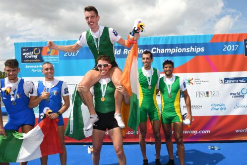 WORLD ROWING CHAMPIONS: Mark O'Donovan and Shane O'Driscoll celebrate winning gold in the men's lightweight pairs in Florida. Photograph: Detlev Seyb/Inpho