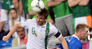Irish forward Kevin Doyle in the Euro 2012 championships: the player has been forced to retire from the game at 34 after repeated concussions. Photograph: Giuseppe Cacace/AFP/Getty Images