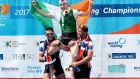 Paul O'Donovan is lifted into the air after winning gold in the men's singles scull at the World Rowing Championships in Florida. Photo: Detlev Seyb/Inpho