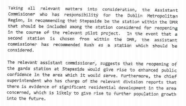 Page 18 of the interim Garda report on the reopening of Garda stations recommends that Stepaside be reopened in the first instance