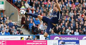 Tottenham's Harry Kane in action against Huddersfield. Photograph: Carl Recine/Reuters