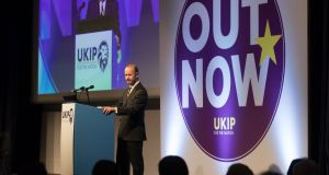 "In a sign of the need to unite Ukip,  new leader Henry Bolton, a little-known former Army officer, used his keynote speech to the party conference in Torquay to declare that the present rate of immigration is ""unacceptable"" and to  claim British culture was being ""swamped"" by multiculturalism. Photograph: Matt Cardy/Getty Images"