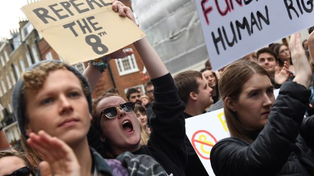 Protesters hold up placards during a London March for Choice on Saturday, calling for the legalisation of abortion in Ireland. Photograph: Chris J Ratcliffe/AFP/Getty Images