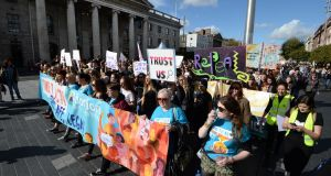 Repeal the Eighth campaign: March for Choice event proceeds past the GPO on O'Connell Street, Dublin. Photograph: Dara Mac Dónaill/The Irish Times