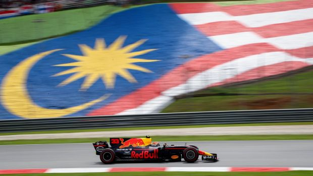 Max Verstappen of Red Bull Racing in action during the Malaysian Grand Prix. Photograph: EPA