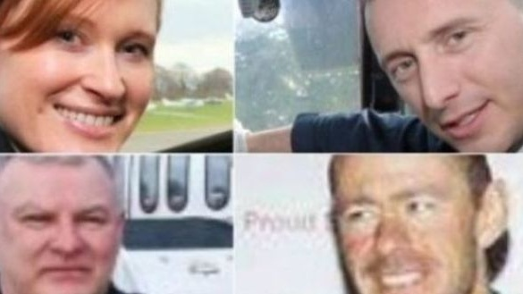 Helicopter crew (clockwise): Capt Dara Fitzpatrick, Capt Mark Duffy, and winch team Ciarán Smith and Paul Ormsby. The bodies of the two winch crew have still not been found