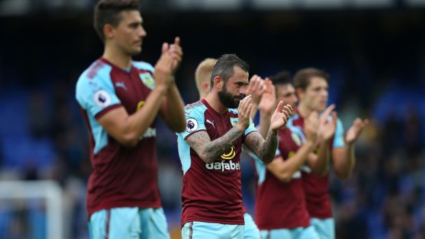 The Burnley team applaud their fans after the match. Photograph: Alex Livesey/Getty Images