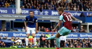Burnley's Jeff Hendrick scores his side's winning goal at Goodison Park. Photograph: Martin Rickett/PA Wire.