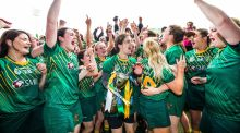 Meath celebrate after winning the All-Ireland Intermediate camogie final. Photograph: Tommy Dickson/Inpho