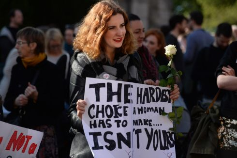 MARCH FOR CHOICE: Edana Flynn attends the March for Choice in Dublin city centre. Photograph: Dara Mac Dónaill/The Irish Times