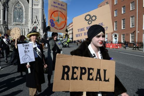 MARCH FOR CHOICE: Protesters attend the March for Choice in Dublin city centre. Photograph: Dara Mac Dónaill/The Irish Times
