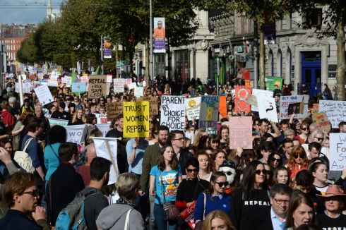 MARCH FOR CHOICE: A view of the March for Choice in Dublin city centre. Photograph: Dara Mac Dónaill/The Irish Times