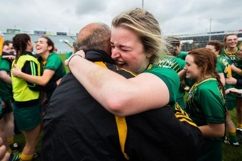 CAMOGIE FINAL: A Meath fan celebrates with Beverly Lynch after the All-Ireland intermediate camogie championship final replay, at the Gaelic Grounds, Limerick. Photograph: INPHO/Tommy Dickson