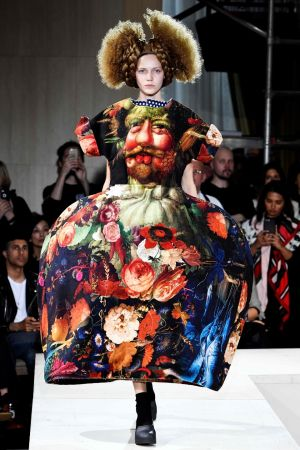 COMME AS YOU ARE: A model wears a Comme des Garçons creation during the brand's 2018 Spring/Summer women's ready-to-wear show in Paris. Photograph: Bertrand Guay/AFP/Getty Images