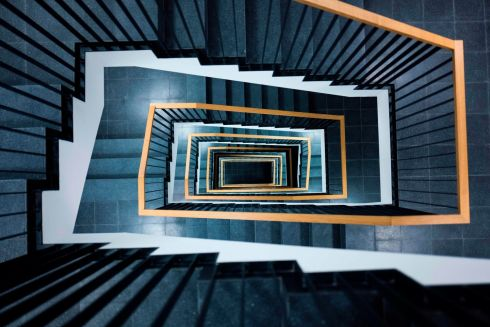 STEP BY STEP: A view of a stairwell located in the newly-renovated Indendanz building next to Berlin's Staatsoper. Photograph: John MacDougall/AFP/Getty Images