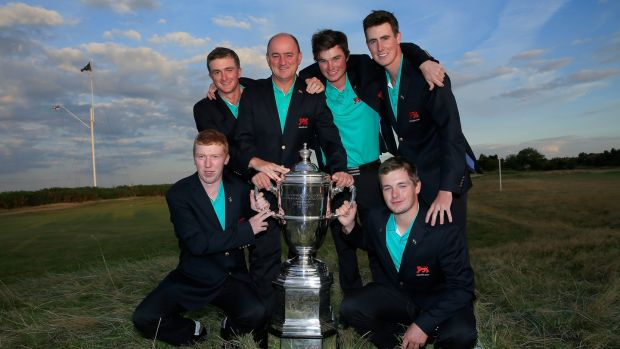 Dunne (back left) with Nigel Edwards, Cormac Sharvin, Gary Hurley, Gavin Moynihan and Jack Hume after winning the Walker Cup in 2015. Photo: David Cannon/R&A/R&A via Getty Images