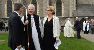 Former president of Ireland Dr Mary McAleese and Prof Jim Lucey of Trinity College Dublin  with Archbishop Michael Jackson. Photograph: Dara Mac Dónaill / The Irish Times