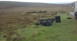 Dumped tyres in the Dublin mountains