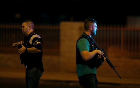 Las Vegas Metro Police officers patrol near the concert venue. Photograph: Las Vegas Sun/Steve Marcus/Reuters