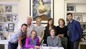Nina Raine (seated front left) with director Oonagh Murphy (seated front right) and the cast of Tribes. Photograph: Mark Stedman