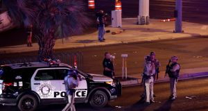 Las Vegas metro police officers after the shooting in Las Vegas. Photograph: Las Vegas Sun/Steve Marcus/Reuters